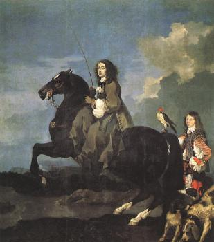 Sebastien Bourdon : Queen Christina of Sweden on Horseback
